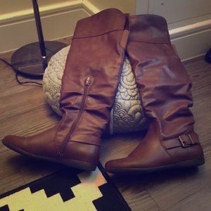 Long toffee brown leather boots
